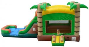 Tropical Bounce House Wet/Dry Slide Combo